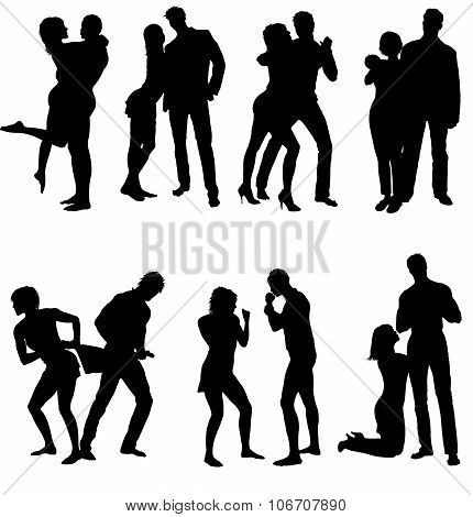 Vector silhouettes of couple. Life steps