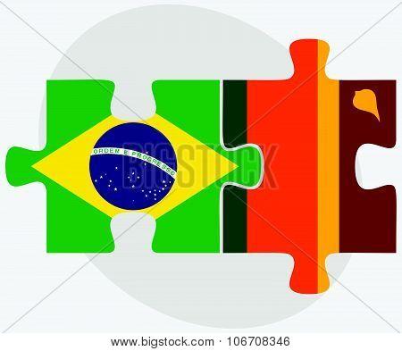 Brazil And Sri Lanka Flags