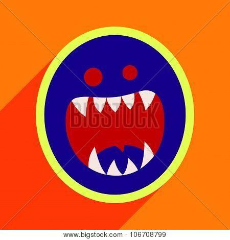 Flat with shadow Icon toothy monster bright background