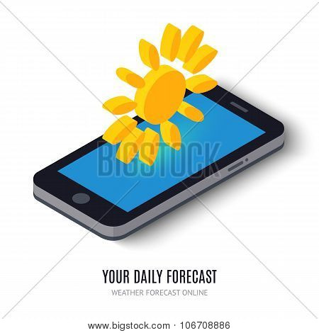 Online daily forecast concept isometric icon.