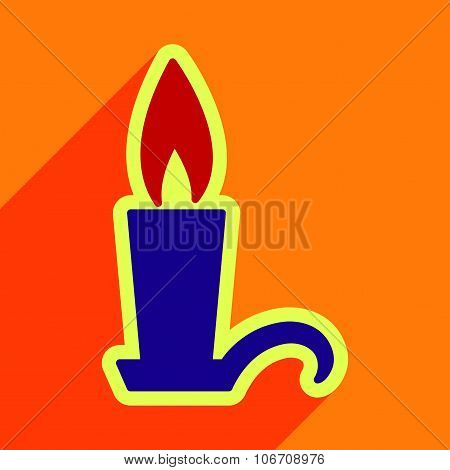 Flat with shadow Icon  candlestick bright background