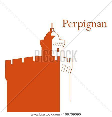 Castillet Perpignan vector illustration