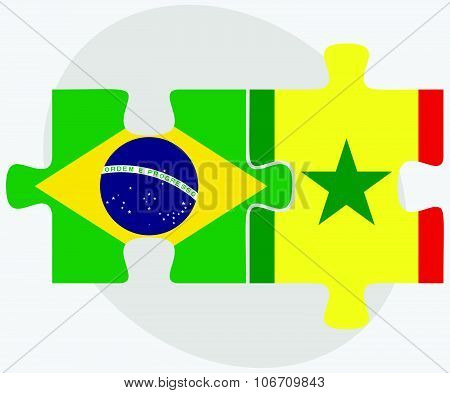 Brazil And Senegal Flags