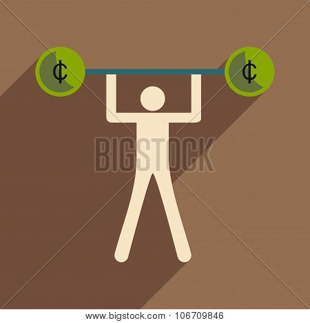 Flat with shadow icon man and the bar coins
