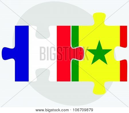 France And Senegal Flags