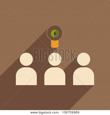Flat with shadow icon group of people think