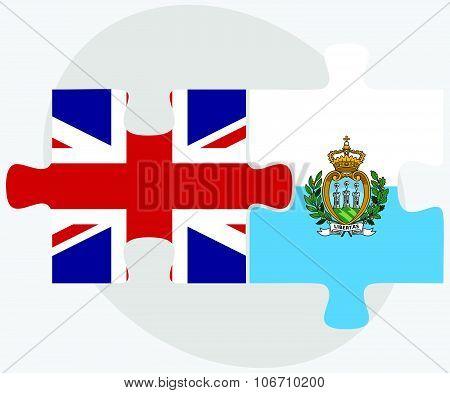 United Kingdom And San Marino Flags