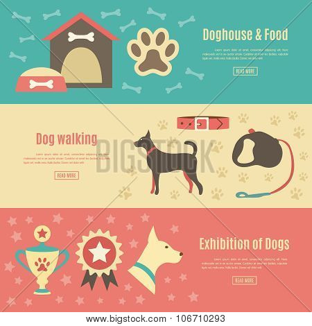 Retro pet flat horizontal banner set. Vector illustration for an