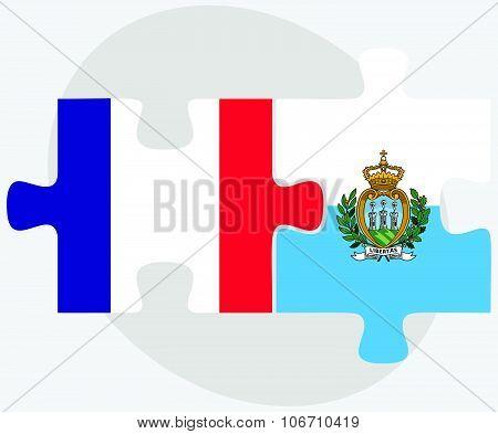 France And San Marino Flags