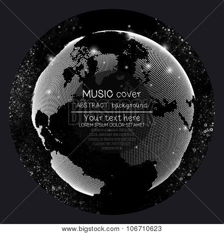 Music album cover templates. World globe, global network. Molecule structure, black background,  vec
