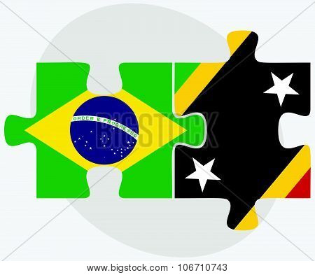 Brazil And Saint Kitts And Nevis Flags