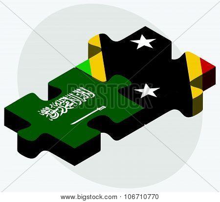 Saudi Arabia And Saint Kitts And Nevis Flags