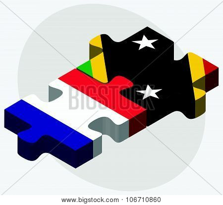 France And Saint Kitts And Nevis Flags