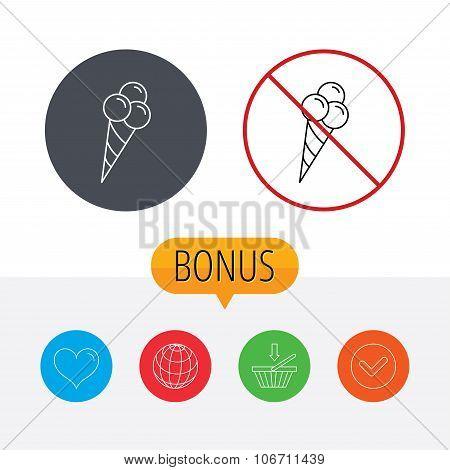 Ice cream with three balls icon. Sweet dessert.