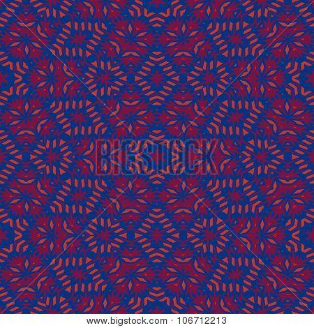 Floral seamless kaleidoscope blue red purple decor
