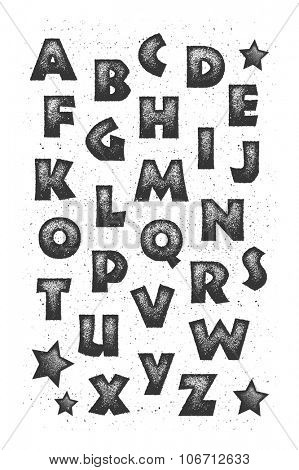 Alphabet. Vector illustration in grunge style. Element for your design.