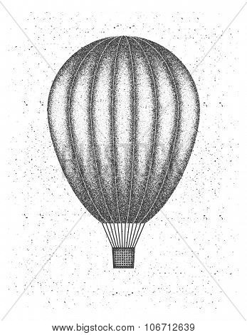 Air balloon. Vector illustration in grunge style. Element for your design.