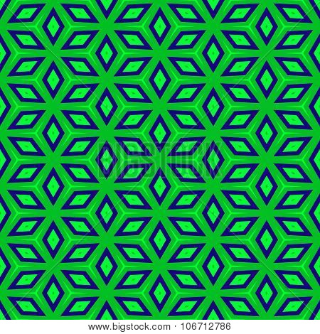 Green blue regular symmetric seamless hexagonal pattern