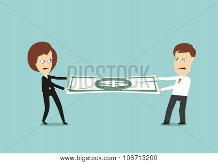Businessman and business woman fights for money