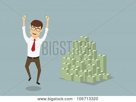 Businessman with huge pile of dollar packs