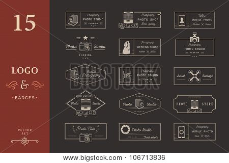 Set Of Vector Photo Logos And Badges