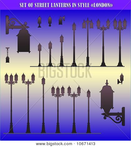 Vector Set Of Silhouettes Of Street Lanterns
