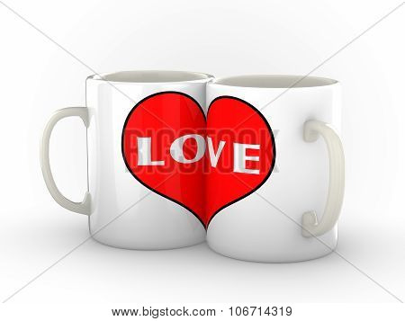 Two Coffee Mugs Showing Love