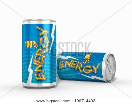 Two Energy Drinks Cans Isolated Against White Background