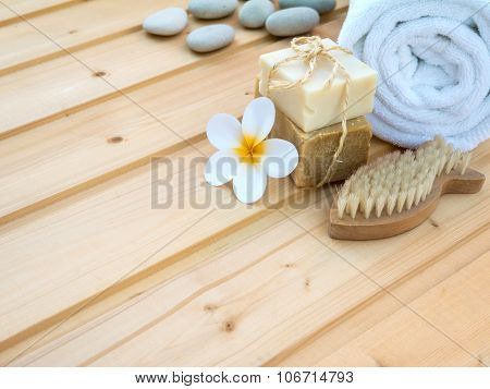 Towel, Tiare Flower, Soap, Stones  And Fish Shaped Nail Brush
