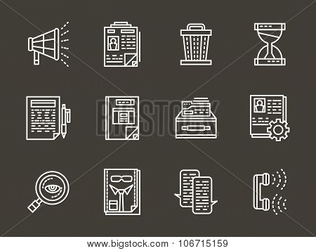White line vector icons for personnel search