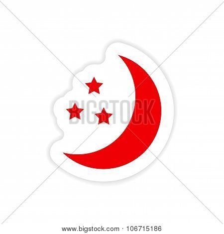 icon sticker realistic design on paper moon Star
