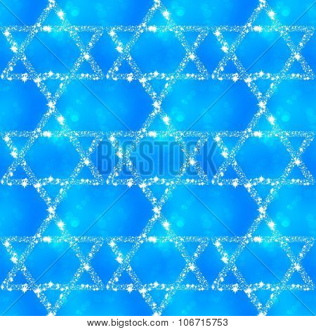 Blue white pattern with hexagrams