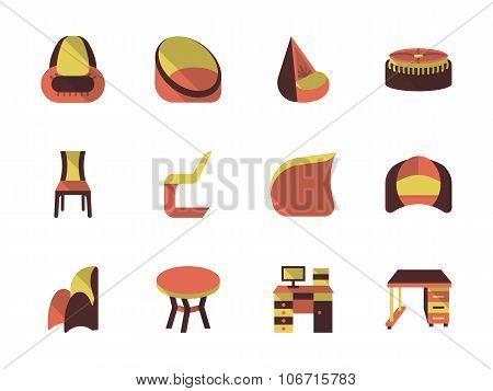 Stylish furniture flat vector icons set