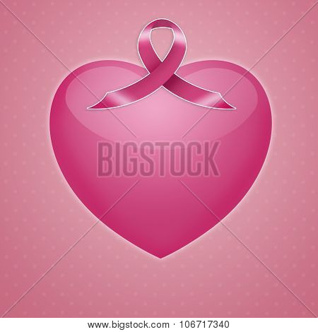Pink Heart With Pink Awareness Ribbon