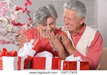 Mature couple celebrating new year