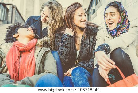 Four Young Beautiful Girls Smiling
