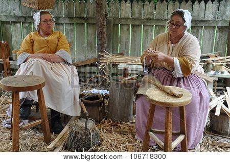 Basketmaker in Colonial Williamsburg in Virginia