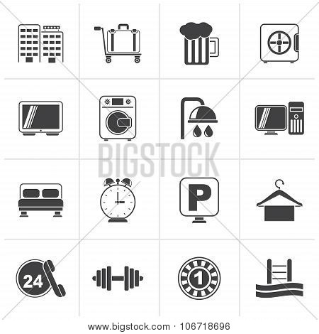 Black Hotel and motel icons