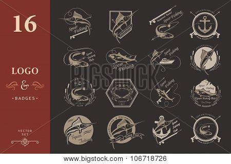 Set Logos And Badges Spearfishing