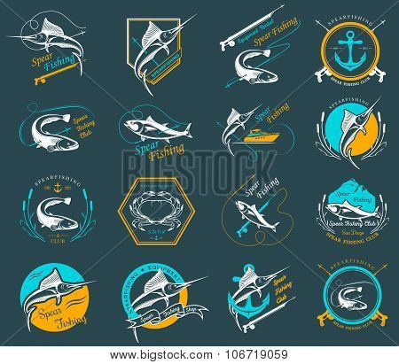 Set Spearfishing Logos And Badges