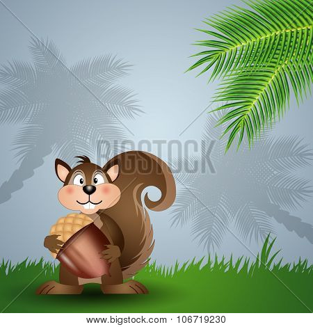 Funny Squirrel With Acorn