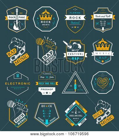 Set Of Vector Logo And Badges Music