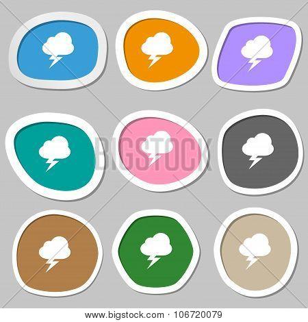 Storm  Icon Symbols. Multicolored Paper Stickers. Vector