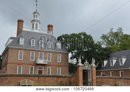 The Governor's Palace Building in Colonial Williamsburg, Virginia