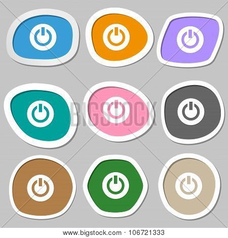 Power,  Switch On, Turn On   Icon Symbols. Multicolored Paper Stickers. Vector