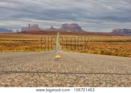 Lost On An Empty Road In Monument Valley
