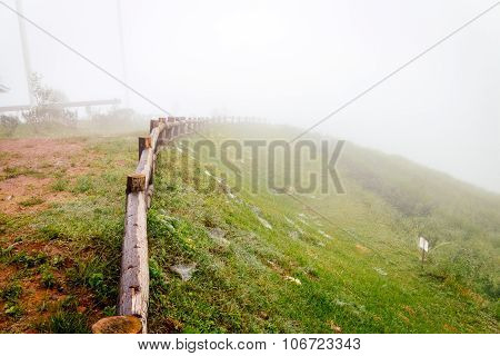 Old Wood Fence In Garden With Fog