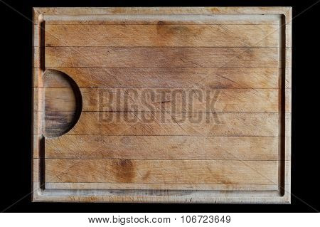 Cutting board with horizontal lines background on black