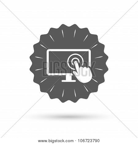 Touch screen monitor sign icon. Hand pointer.