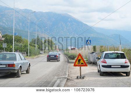 Tivat, Montenegro, October, 6, 2015: Road works in Tivat , Montenegro
